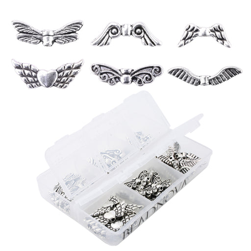 BEADNOVA Vintage Tibetan Silver Plated Angel Wing Charm Beads Spacer Jewelry Findings Parts for Jewelry Making With Container Box (60pcs)
