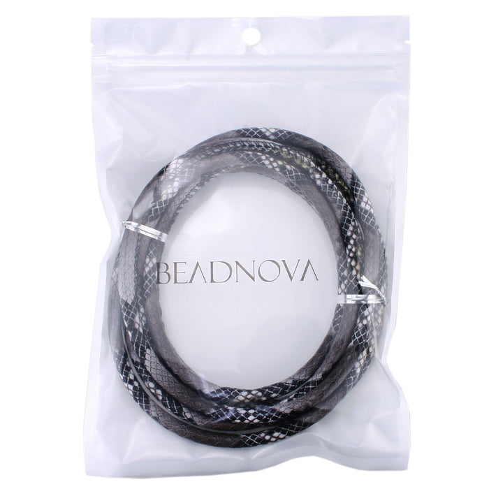 BEADNOVA 6mm Round Folded Bolo Braided Python Boa Snake Stitched PU Leather Cords For Jewelry Making 2 Meters (09.Python Boa Snake Stitched Cord)
