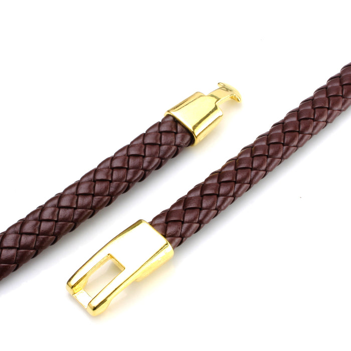 BEADNOVA 9mm Fold Bolo Flat Braided Leather Cord For Bracelet Jewelry Making 2 Meters, Brown