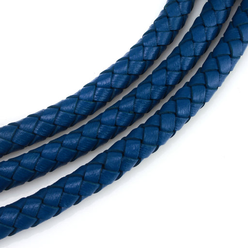 BEADNOVA 6mm Round Folded Bolo Genuine Braided Leather Cords For Bracelet Necklace Jewelry Making 2 Meters, Dark Blue