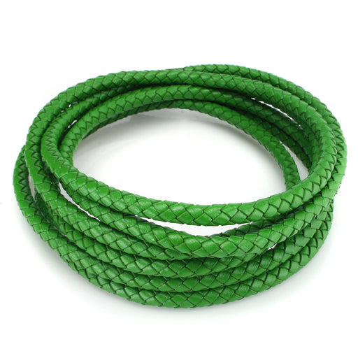 BEADNOVA 6mm Round Folded Bolo Genuine Braided Leather Cords For Bracelet Necklace Jewelry Making 2 Meters, Green