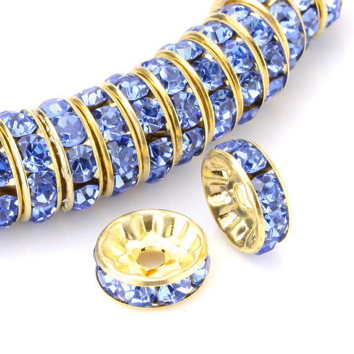 BEADNOVA 100pcs 10mm Gold Plated Crystal Rondelle Spacer Beads for Jewelry Making (#211 Light Sapphire)