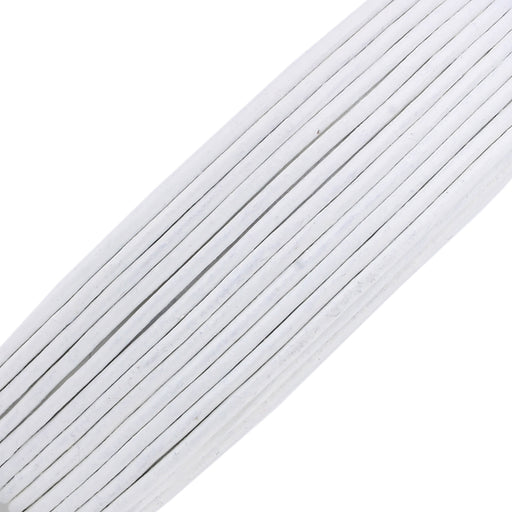 BEADNOVA 1.5mm Genuine Round Leather Cord Leather Strips For Jewelry Making Bracelet Necklace Beading, 10 Meters/ 11 Yards, White