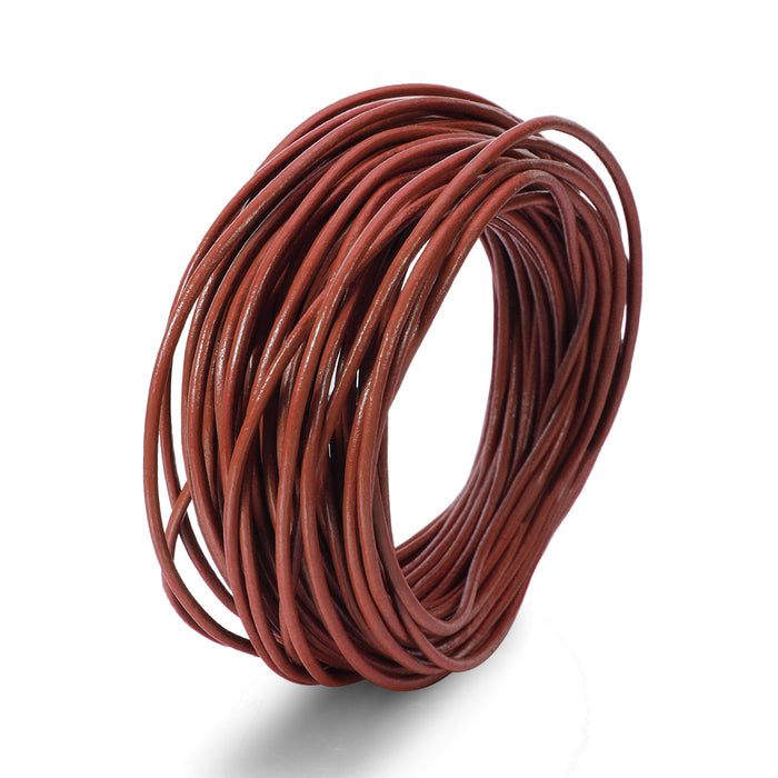 BEADNOVA 1.5mm Genuine Round Leather Cord Leather Strips For Jewelry Making Bracelet Necklace Beading, 10 Meters/ 11 Yards, Brown