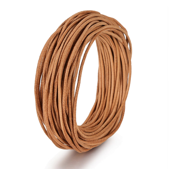 BEADNOVA 1.5mm Genuine Round Leather Cord Leather Strips For Jewelry Making Bracelet Necklace Beading, 10 Meters/ 11 Yards, Natural Color