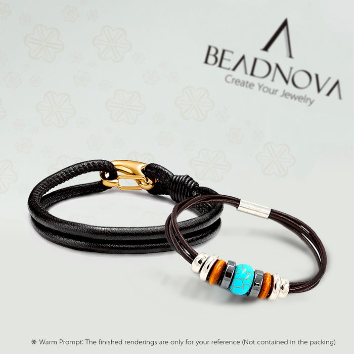 BEADNOVA 3mm Genuine Round Leather Cord Leather Strips For Jewelry Making Bracelet Necklace Beading, 5 Meters/ 5.5 Yards, Black