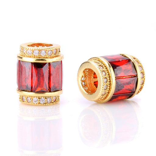 BEADNOVA Gold Plated CZ Cubic Zirconia European Charm Beads For Jewelry Bracelet Making Red