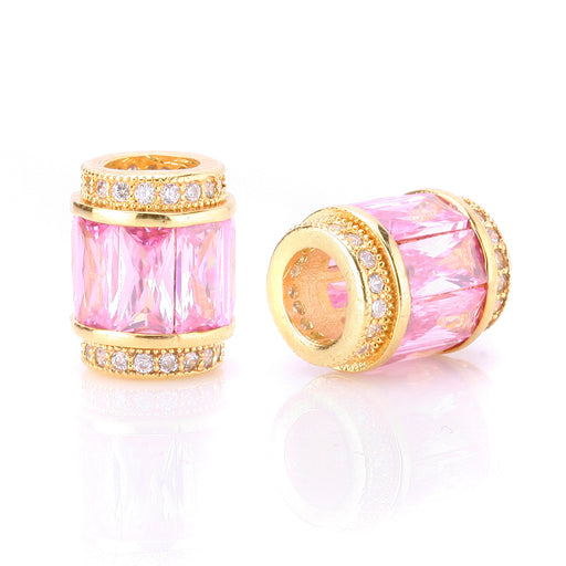 BEADNOVA Gold Plated CZ Cubic Zirconia European Charm Beads For Jewelry Bracelet Making Pink