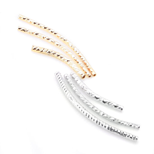 BEADNOVA 30pcs Assorted Lot Shinny Silver/ 14k Gold Plated Plated Twist Curved Long Noodle Tube Beads for Jewelry Making Findings