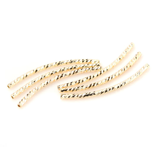 BEADNOVA 30pcs 14k Gold Plated Twist Curved Long Noodle Tube Beads for Jewelry Making Findings (2mm x 35mm )