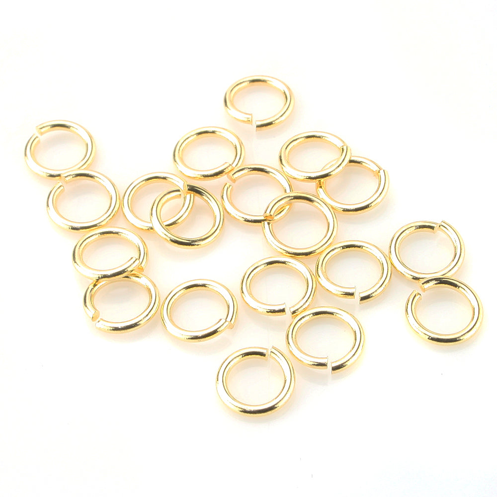 BEADNOVA 8mm Gold Plated Open Jump Rings with Plastic Acrylic Jar Container For Jewelry Making (200pcs)