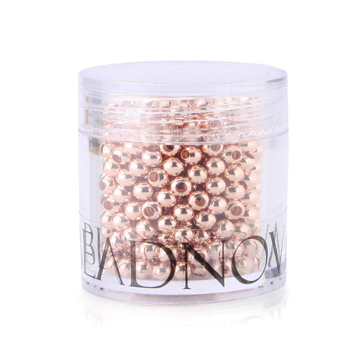 BEADNOVA 500pcs 3mm Rose Gold Plated Smooth Brass Metal Round Beads with Container for Jewelry Making