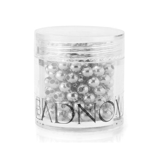 BEADNOVA 200pcs 4mm Silver Plated Smooth Brass Metal Round Beads with Container for Jewelry Making