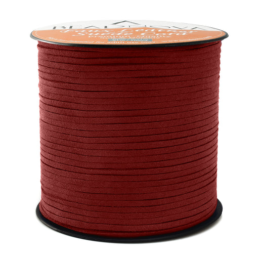 BEADNOVA 3mm Faux Suede Cord Flat Leather Cord 100 Yards Roll Spool for Necklace Bracelet Jewelry Making, Red