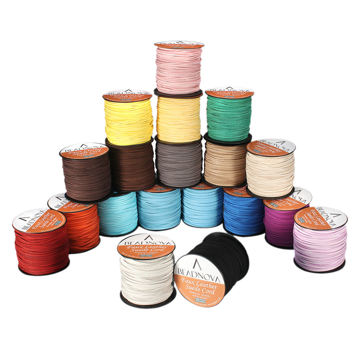BEADNOVA 3mm Faux Suede Cord Flat Leather Cord 100 Yards Roll Spool for Necklace Bracelet Jewelry Making, Turquoise Color