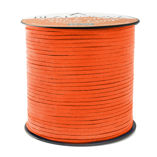 BEADNOVA 3mm Faux Suede Cord Flat Leather Cord 100 Yards Roll Spool for Necklace Bracelet Jewelry Making, Orange