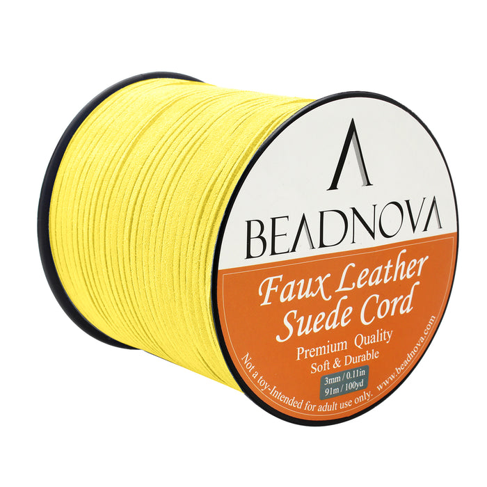 BEADNOVA 3mm Faux Suede Cord Flat Leather Cord 100 Yards Roll Spool for Necklace Bracelet Jewelry Making, Beige