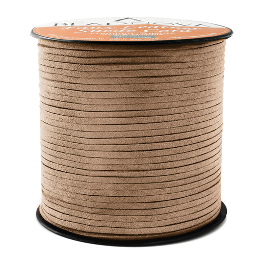 BEADNOVA 3mm Faux Suede Cord Flat Leather Cord 100 Yards Roll Spool for Necklace Bracelet Jewelry Making, Brown