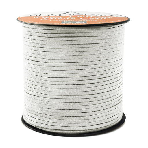 BEADNOVA 3mm Faux Suede Cord Flat Leather Cord 100 Yards Roll Spool for Necklace Bracelet Jewelry Making, Grey