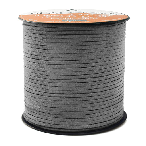 BEADNOVA 3mm Faux Suede Cord Flat Leather Cord 100 Yards Roll Spool for Necklace Bracelet Jewelry Making, Dark Grey