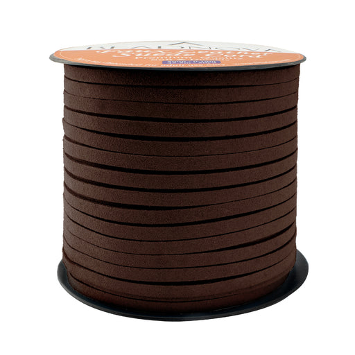 BEADNOVA 5mm Flat Leather Cord Faux Suede Cord 50 Yards Roll Spool for Necklace Bracelet Jewelry Making (Medium Brown)