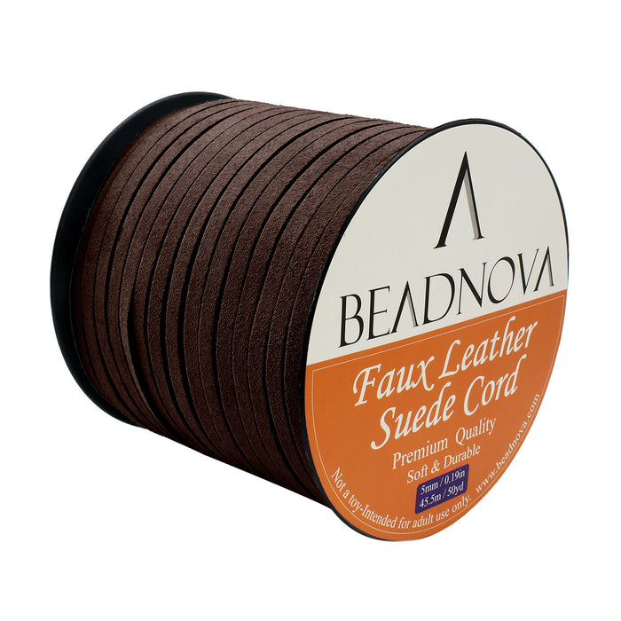 BEADNOVA 5mm Flat Leather Cord Faux Suede Cord 50 Yards Roll Spool for Necklace Bracelet Jewelry Making (Dark Brown)