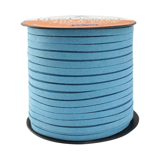 BEADNOVA 5mm Flat Leather Cord Faux Suede Cord 50 Yards Roll Spool for Necklace Bracelet Jewelry Making (Sky Blue)