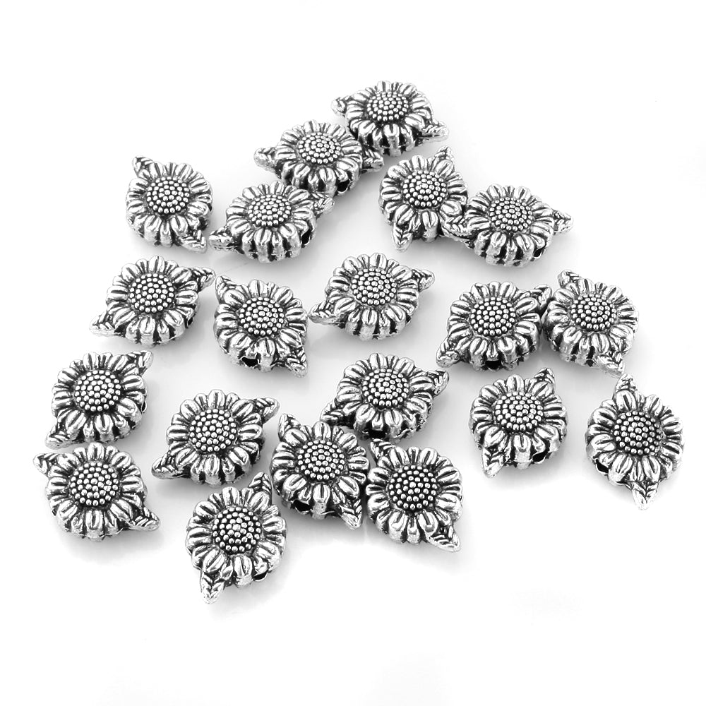 BEADNOVA 50pcs Tibetan Silver Cute Sunflower Flower Charm Bead Spacers for Jewelry Making Findings