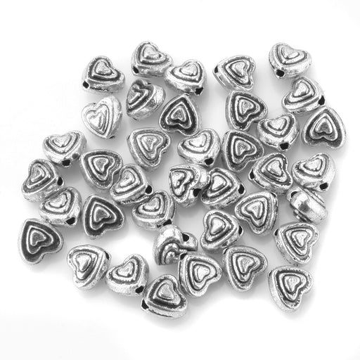 BEADNOVA 50pcs 6mm Tibetan Silver Sweet Heart Spacer Metal Beads for Jewelry Findings Making (#04)