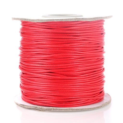 BEADNOVA 1mm Waxed Cotton Beading Cord Waxed String Wax Coating Cord for Jewelry Making 100 Yards Roll Spool, Red