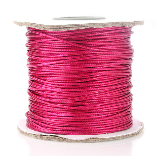 BEADNOVA 1mm Waxed Cotton Beading Cord Waxed String Wax Coating Cord for Jewelry Making 100 Yards Roll Spool, Fuchsia