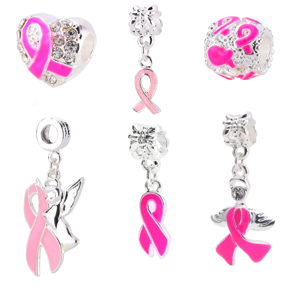 BEADNOVA Silver Plated Breast Cancer Awareness Pink Ribbon Dangle Charm European Style Beads Charm Fit Bracelet Assorted Mix Lot