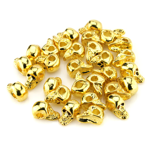 BEADNOVA Gold Plated 4mm Skull Beads Spacer Beads Jewelry Making Findings Beads 30 pcs