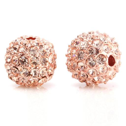 Beadnova 10mm Rose Gold Plated 362 Light Peach Crystal Pave Alloy Metal Round Disco Beads for Shamballa Bracelet Necklace Making