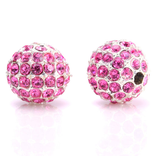 BEADNOVA 10mm Silver Plated 209 Rose Crystal Pave Alloy Metal Round Disco Beads for Bracelet Necklace Making
