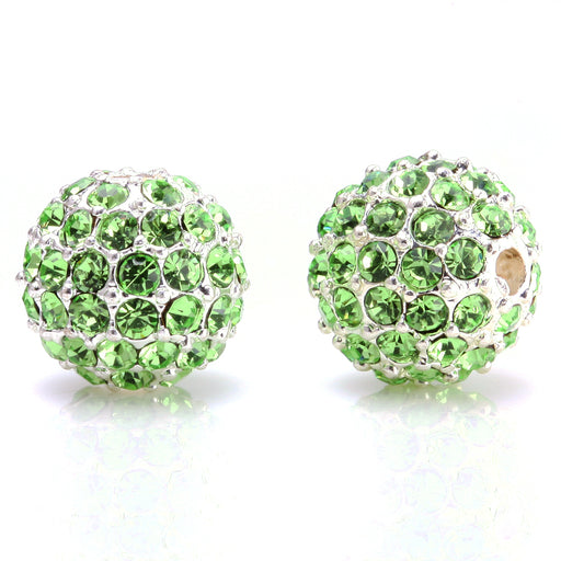 BEADNOVA 10mm Silver Plated 214 Peridot Crystal Pave Alloy Metal Round Disco Beads for Bracelet Necklace Making