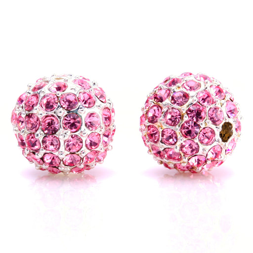 BEADNOVA 10mm Silver Plated 223 Light Rose Crystal Pave Alloy Metal Round Disco Beads for Bracelet Necklace Making