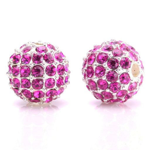 BEADNOVA 10mm Silver Plated 502 Fuchsia Crystal Pave Alloy Metal Round Disco Beads for Bracelet Necklace Making