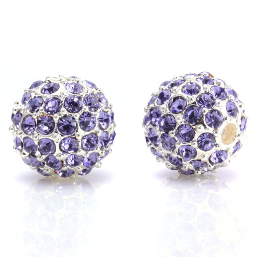 BEADNOVA 10mm Silver Plated 539 Tanzanite Crystal Pave Alloy Metal Round Disco Beads for Bracelet Necklace Making