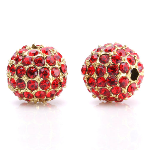 BEADNOVA 10mm Gold Plated 227 Light Siam Crystal Pave Alloy Metal Round Disco Beads for Bracelet Necklace Making