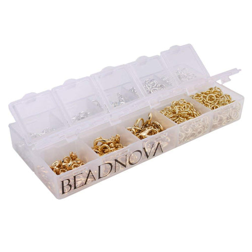 BEADNOVA Silver/ Gold Plated 160pcs Lobster Claw Clasps   1000pcs Open Jump Rings Value Pack Box Set