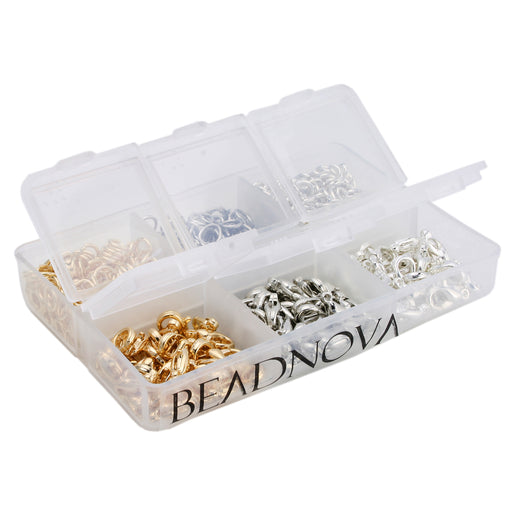 BEADNOVA 90pcs 8mm Silver/ Gold/ Rhodium Plated Lobster Claw Clasps 600pcs 5mm Open Jump Ring for Jewelry Making Value Pack Box Set Assortment