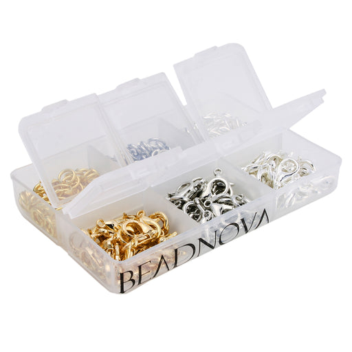BEADNOVA 90pcs 10mm Silver/ Gold/ Rhodium Plated Lobster Claw Clasps 300pcs 6mm Open Jump Ring for Jewelry Making Value Pack Box Set Assortment