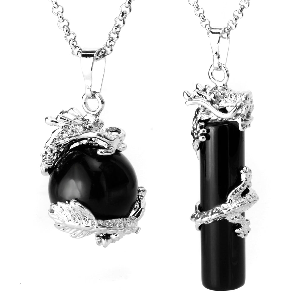 BEADNOVA 2pcs Dragon Wrapped Round Ball Cylinder Natural Black Obsidian Gemstone Necklace Healing Couple Pendant Necklaces Set