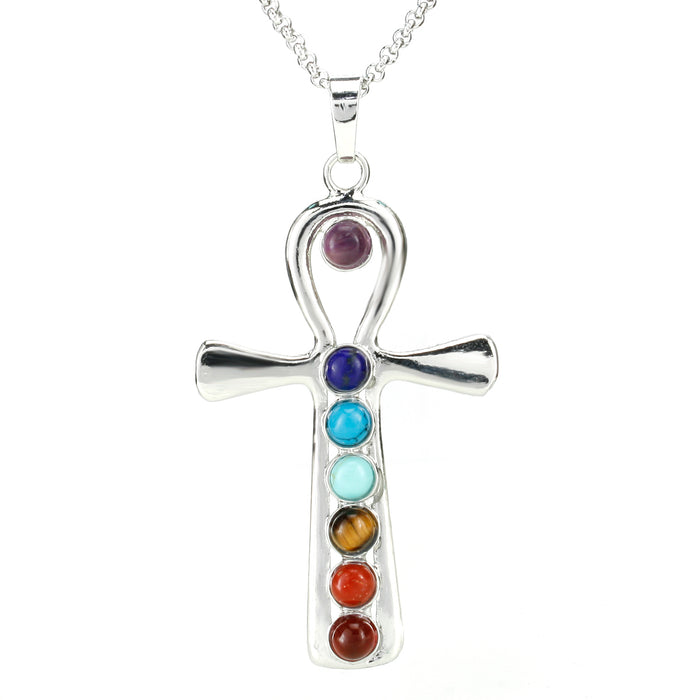 BEADNOVA 7 Chakras Healing Pointed Crystal Chakra Reiki Jesus's Cross Gemstone Pendent Necklace Stainless Steel Chain 18""