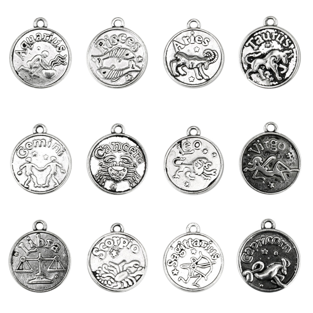 BEADNOVA Antique Tibetan Silver Zodiac Horoscope Pendant Crafting Charm Beads Findings for Bracelet Necklace Jewelry Making 12pcs Assorted