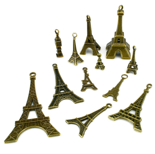 BEADNOVA Antique Tibetan Bronze Tower Charms Pendant Crafting Charm Beads Findings for Bracelet Necklace Jewelry Making 12pcs Assorted