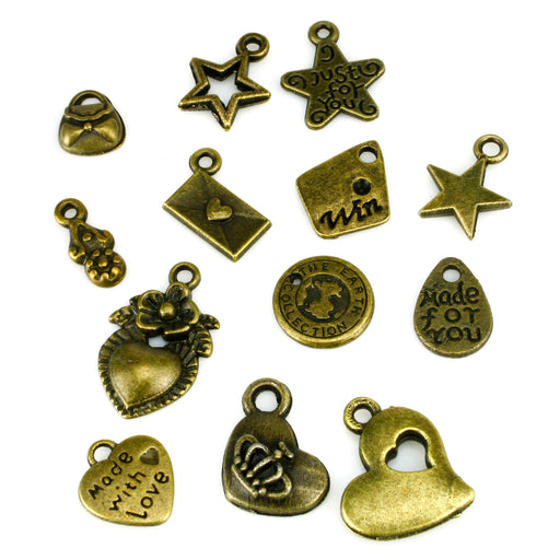 BEADNOVA Antique Tibetan Bronze Charms Pendant Crafting Charm Hearts Stars Handbag Beads Findings for Bracelet Necklace Jewelry Making 15pcs Assorted