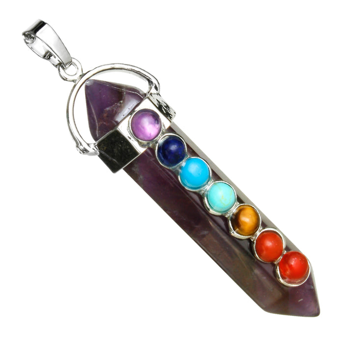 BEADNOVA 7 Chakra Natural Amethyst Gemstone Necklace Hexagonal Healing Crystal Pendant Necklace Stainless Steel Chain 18""