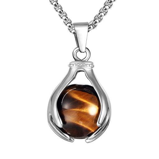 BEADNOVA Healing Natural Brown Tiger Eye Gemstone Necklace Crystal Ball Pendant Necklace with Stainless Steel Chain 18""